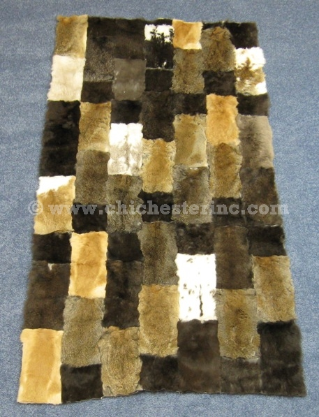 Black Rabbit Fur Rugs Dyed Rabbit Fur Blanket Real Rabbit Skin Fur Plate Entertainment Memorabilia