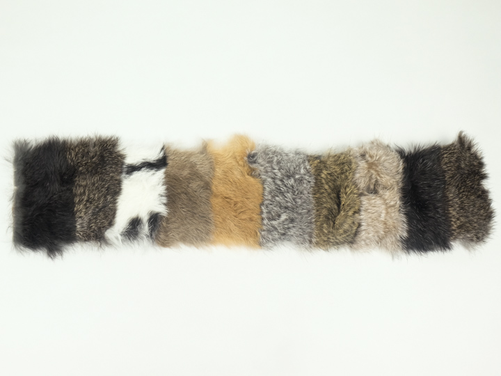 Dyed Rabbit Pelt Assorted Colors and Prints Genuine Hair On Rabbit Hide