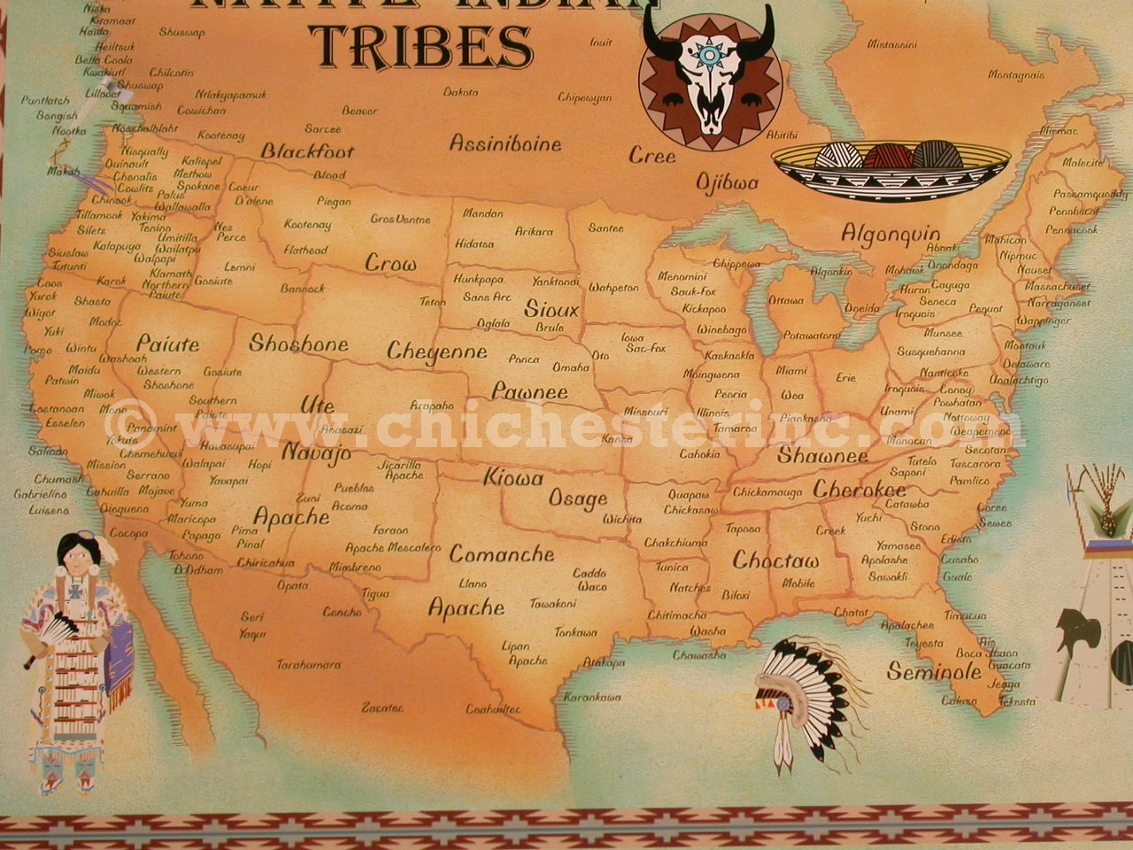 trading post postcards or native tribe maps or native symbols maps