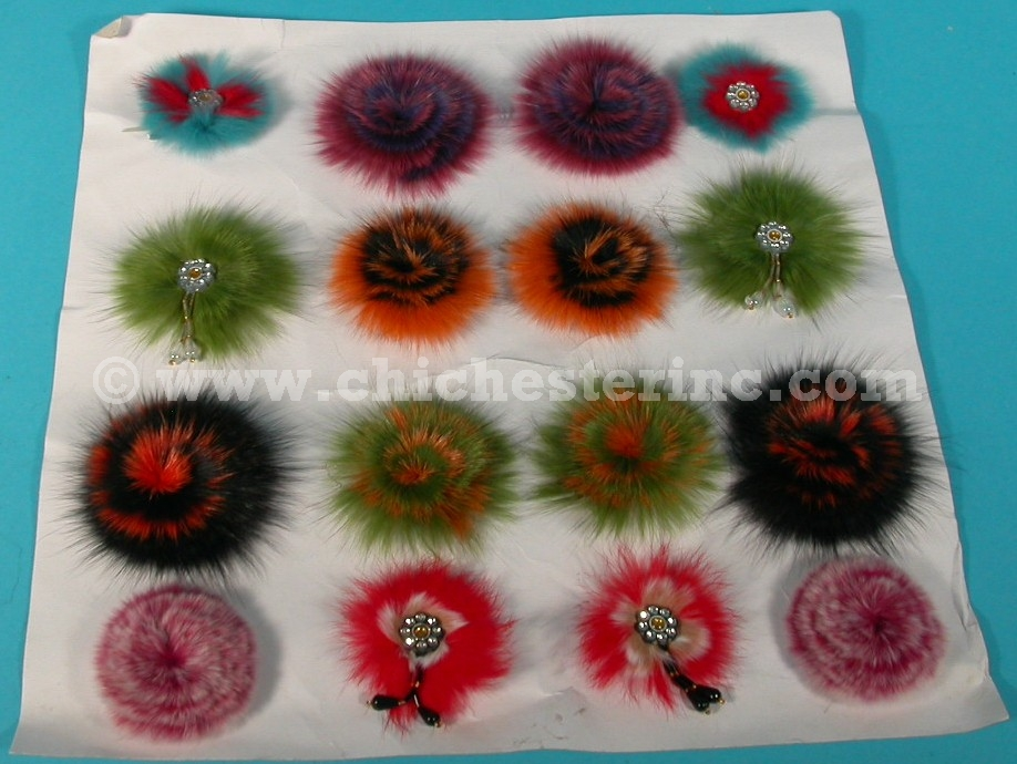 Rex Rabbit Fur Flowers are shown on the left and Blue Fox Fur Flowers...